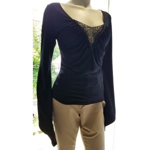 Entry Bell Sleeves Black Sequins  Top, L